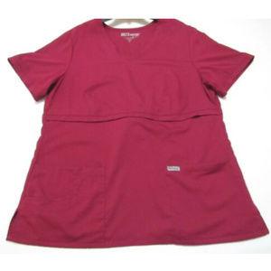 Grey's Anatomy Sz XL Scrub Top Maroon Short Sleeve